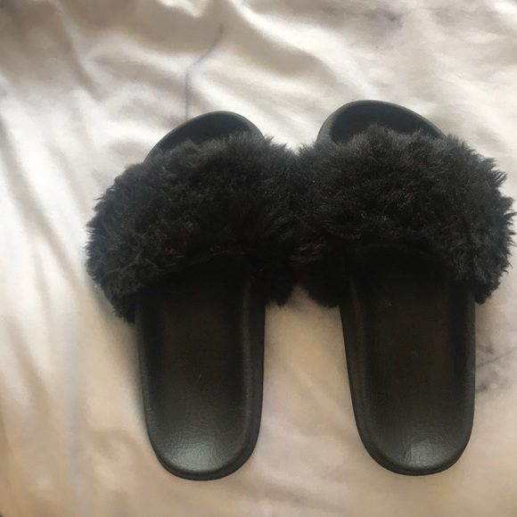 various design hot sale cheap Urban Outfitters Shoes | Black Fluffy Slippers | Poshmark